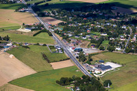 Aerial view of the Quatre-Bras crossroads