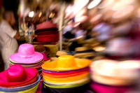Colorful hats on a market in Provence