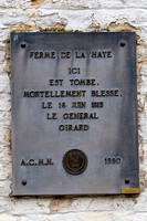 The plaque on the wall of the Farm of La Haye, in Saint-Amand